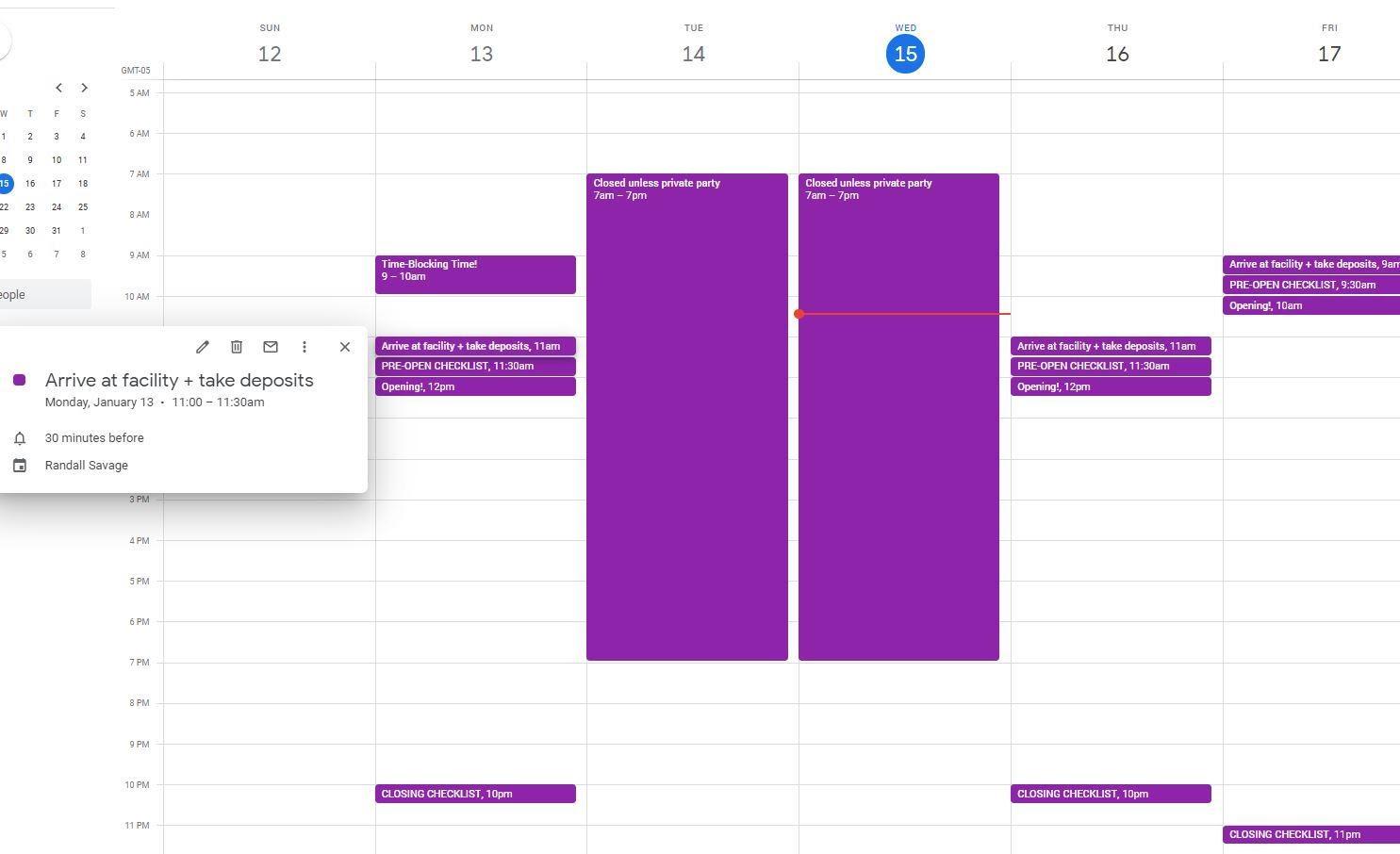 Calendar your daily/weekly work tasks