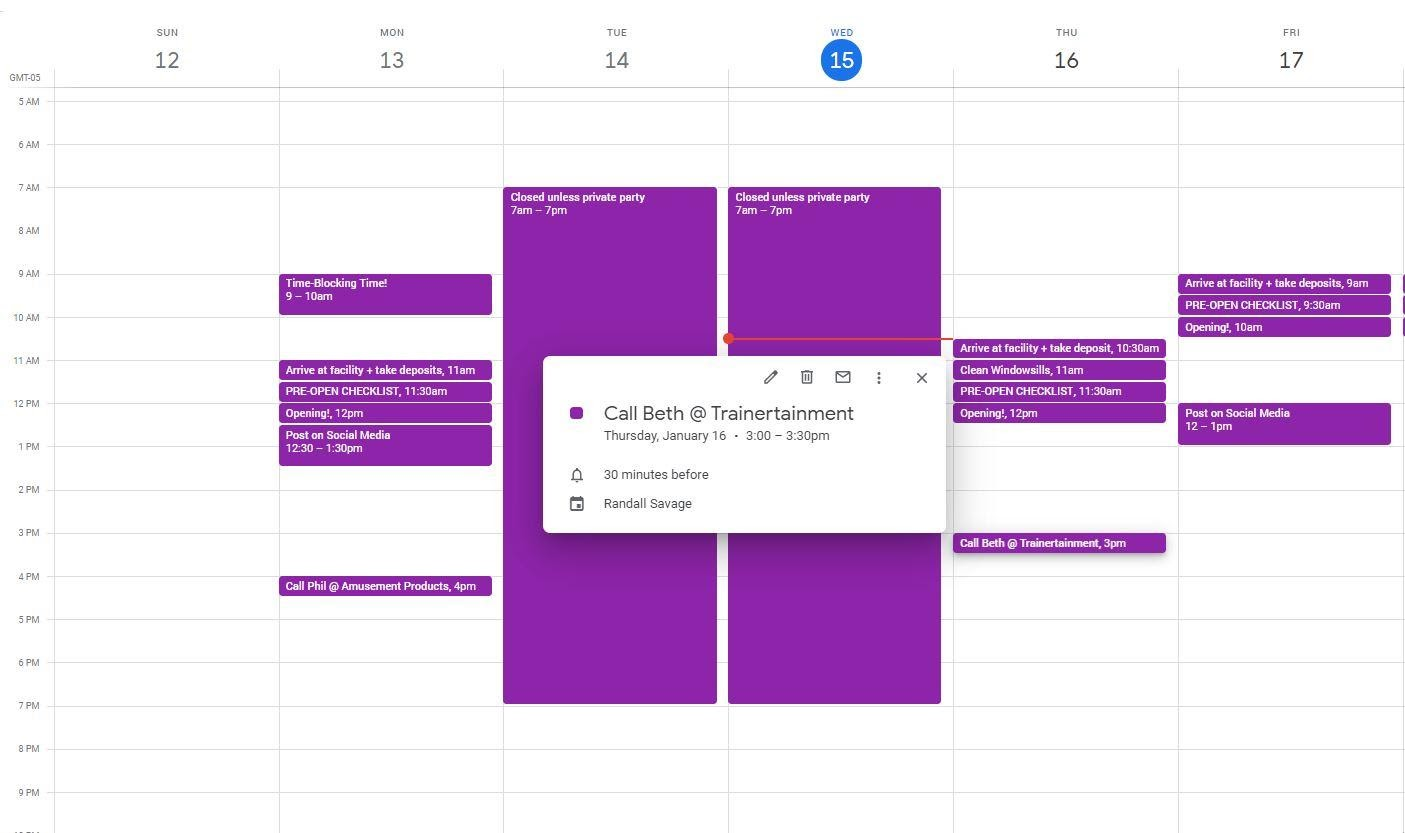 Calendar tasks that you  need to get done, but that might not be part of your normal routine