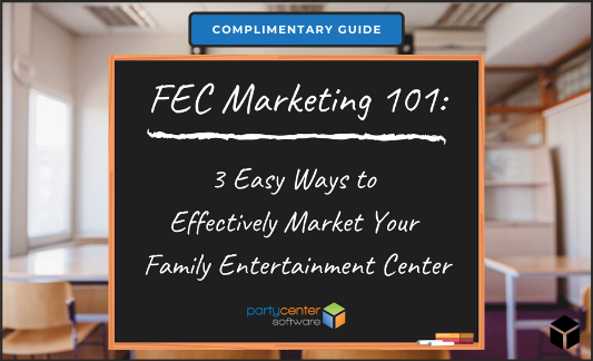 Background image of classroom with cover page of FEC Marketing Guide 101 in front of it