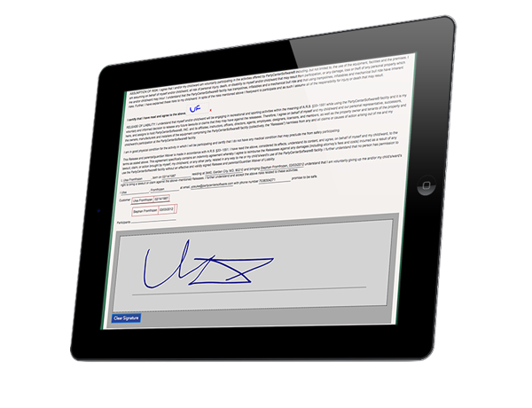 Digital Waivers on a tablet