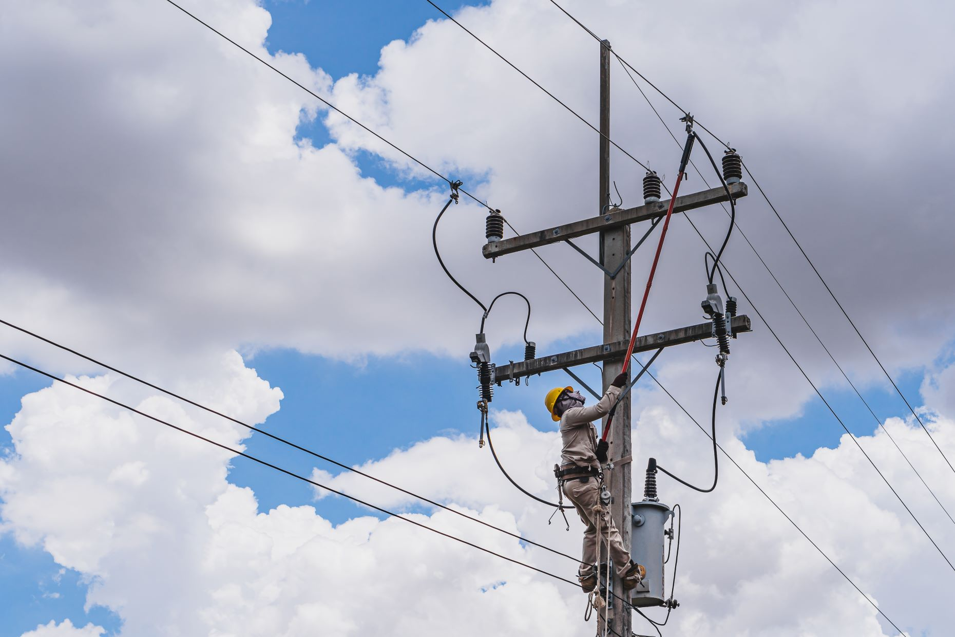 Lineman working on a power line